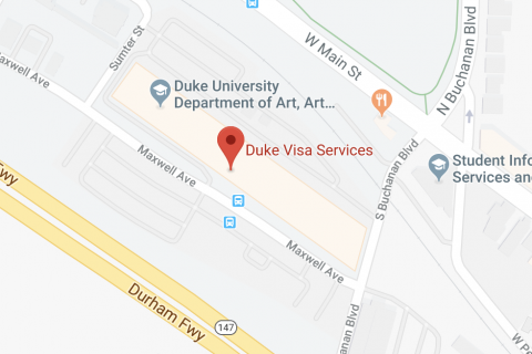 Google Map of Duke Visa Services location